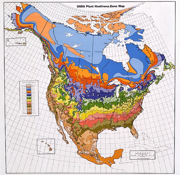 USDA Plant Hardiness Zone Map for North America